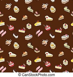 Brown sweet cake pattern - Seamless background with flat...