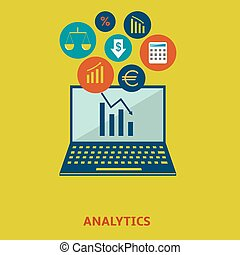 Data analytic icon set - Data analytics and statistics icon...