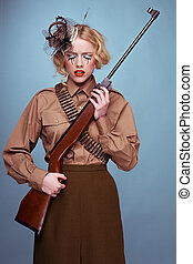 Glamour portrait of a woman in army uniform - Glamour...