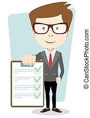 Manager holding the document approved, vector illustration -...