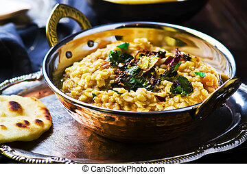 dhal with pumpkin. Indian cuisine selective focus.
