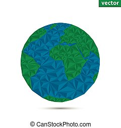 Earth planet - Vector polygonal style illustration of earth...