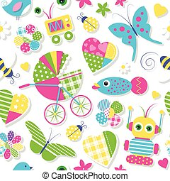baby stroller and toys pattern