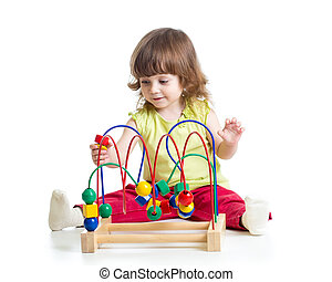 kid girl plays with educational toy isolated