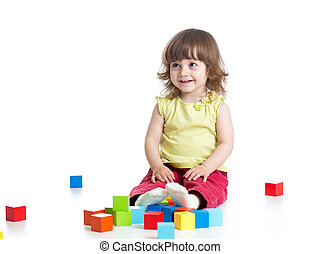 child girl playing wooden toys