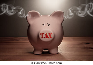 Tax - Piggy bank with tax stamp on its forward and smoke...