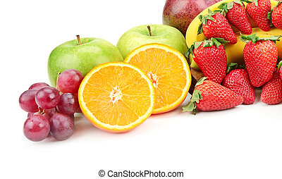 fresh fruits isolated on a white...
