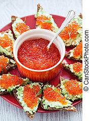 Caviar and avocado toasts