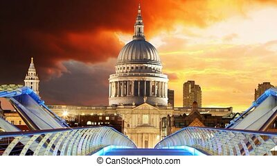 Millennium Bridge and Saint Pauls Cathedral in London, Time...