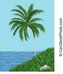 green palmtree - vector, tropical palm-tree on grassy hill...