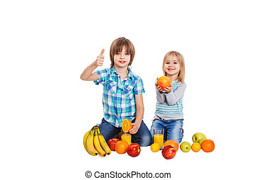 Dear children and fruit - The boy and the girl on a white...