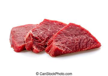 beef steak - Fresh beef steak sliced on a background