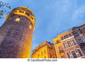 Magnificence of Galata Tower in Beyoglu, Istanbul, Turkey.