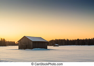Barns In The Winter Sunrise 1 - Two barns in a very cold...