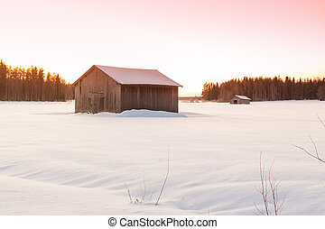 Barns In The Winter Sunrise 2 - Two barns in a very cold...