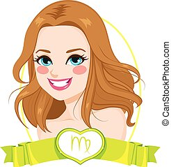Virgo Zodiac Sign Girl - Portrait of light brown haired girl...