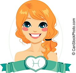Pisces Zodiac Sign Girl - Portrait of red haired girl...
