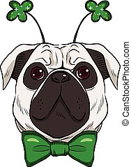 St Patrick Pug Dog - Cute St Patrick pug dog with green bow...
