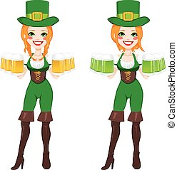 St. Patrick Irish Leprechaun Girl - Beautiful red haired...