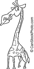 giraffe animal cartoon coloring page - Black and White...
