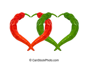 Red and green chili peppers in love. Hearts composed of...