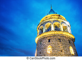 Galata Tower, night view.