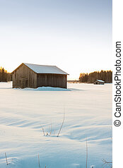Barns In The Winter Sunrise 3 - Two barns in a very cold...
