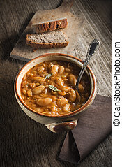 Bean stew - White bean stew with bread close up