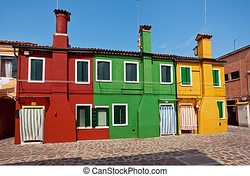 Burano Island, Italy - Colorful houses on the Island Burano,...