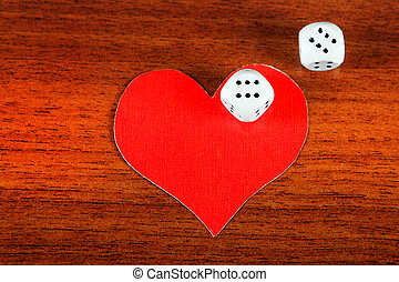 Heart Shapes and Dices - Red Heart Shape with Dices on the...