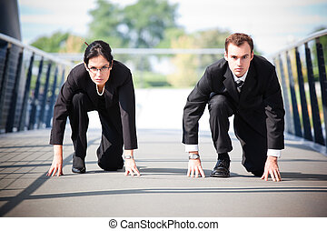 Business people in competition - A shot of two business...