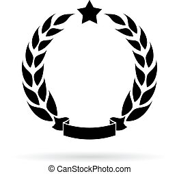 Laurel wreath icon isolated on white background