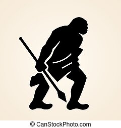 Cave man with spear