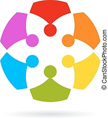 Team work abstract icon