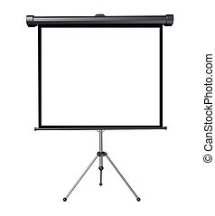 Projection Screen - Projection screen with a blank white...