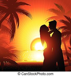 Silhouette of couple on beach - Silhouette of couple on...