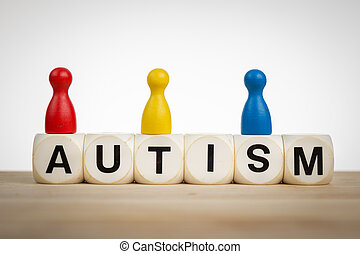 Autism special concept - Autism concept: Pawns in different...