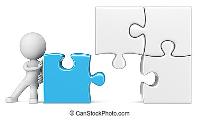 The Solution. - The dude pushing last piece of large Puzzle.