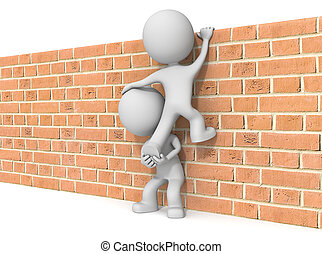 Over the wall - The dude 3D character x2 climbing Brick wall...