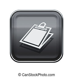 Table icon glossy grey, isolated on white background