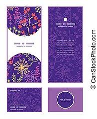 植物, セット, 庭, 縦, パターン, フレーム, ベクトル, 招待, カード, あなた, RSVP,...