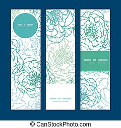 Vector blue line art flowers vertical banners set pattern background