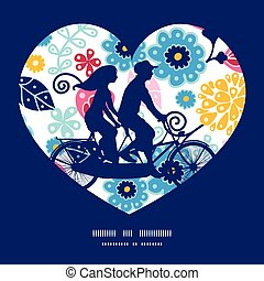 Vector fairytale flowers couple on tandem bicycle heart...