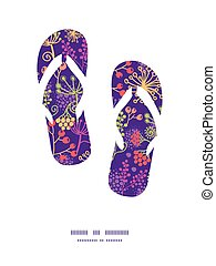 Vector colorful garden plants flip flops silhouettes pattern...