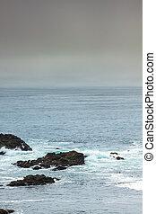 Rocky Shoreline of Pacific Ocean off BC, Canada