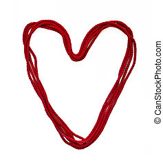 heart from red rope - Abstract image of the heart from red...
