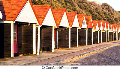 Beach huts, Bournemouth, UK - Beach huts, Bournemouth,...