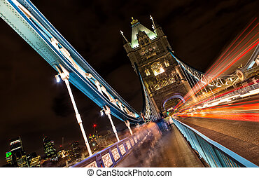 Tower Bridge at night, London, United Kingdom - Tower Bridge...