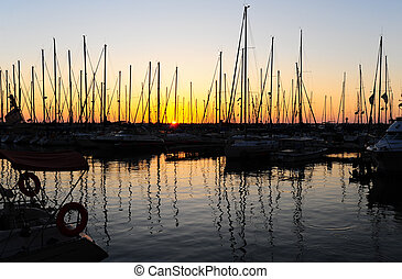 Docked Yachts - Marina With Docked Yachts At The End Of The...
