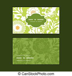 Vector green and golden garden silhouettes horizontal frame...